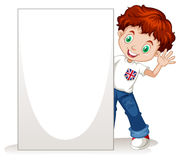Little boy holding blank sign Royalty Free Stock Photography