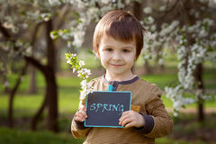 Little boy, holding board with sign Stock Photography