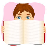 Little boy holding a book wide open Stock Photo