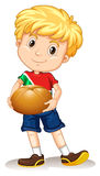 Little boy holding bread bun Royalty Free Stock Image