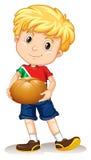 Little boy holding bread bun Royalty Free Stock Image