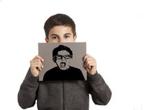 Little boy holding a card Stock Image