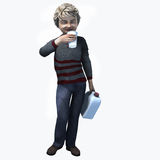 Little boy holding cup and contatiner 1. Little boy holding a cup and container of a healthy beverage Royalty Free Stock Image