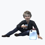 Little boy holding cup and contatiner 5. Little boy holding a cup and container of a healthy beverage Royalty Free Stock Image