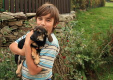 Little boy holding a dog stock image