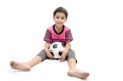 Little boy holding football sport player Stock Photography