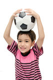 Little boy holding football sport player. Little boy holding football on white background Royalty Free Stock Images