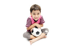 Little boy holding football sport player Royalty Free Stock Photos