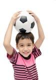 Little boy holding football sport player. Little boy holding football on white background Stock Photo