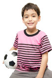 Little boy holding football sport player. Little boy holding football on white background Royalty Free Stock Photography