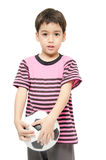 Little boy holding football sport player Stock Images