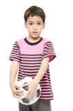 Little boy holding football sport player. Little boy holding football on white background Stock Images