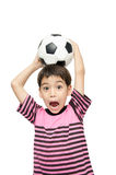Little boy holding football sport player. Little boy holding football on white background Royalty Free Stock Photo