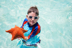 Little boy holding a giant starfish Royalty Free Stock Photo