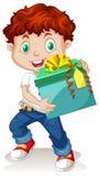 Little boy holding a gift box. Illustration Royalty Free Stock Image