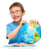 Little boy is holding globe Stock Photo