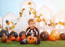 Little Boy Holding Halloween Pumpkin Royalty Free Stock Images