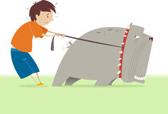 Little boy holding his big dog vector illustration