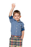 Little boy holding his hand up Royalty Free Stock Image
