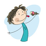 Little boy holding ice cream. Original hand drawn illustration of boy holding ice cram Stock Images