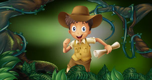 Little boy holding map in the woods. Illustration Royalty Free Stock Images