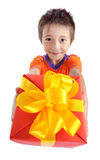 Little boy holding present box Stock Photography