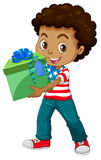 Little boy holding a present box. Illustration Stock Photos
