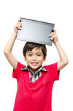 Little boy holding tablet computer touch screen Royalty Free Stock Photography