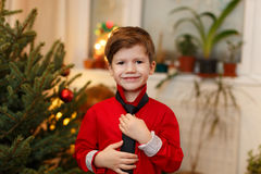 Little boy holding tie at Christmas Royalty Free Stock Photos