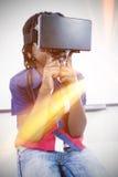 Little boy holding virtual glasses Stock Photos