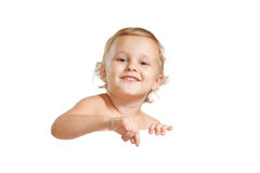 Little boy holding a white blank Royalty Free Stock Photos