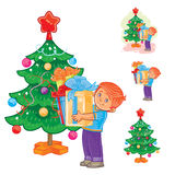 Little boy holds in hands Christmas presents. Vector illustration little boy holds in hands Christmas presents near the New Year tree Royalty Free Stock Images