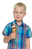 Little boy holds ice cream Royalty Free Stock Photo