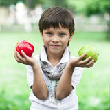 A little boy holds two apples on the background of summer park Stock Photo