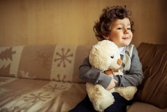 Little boy at home stock image