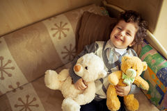 Little boy at home stock photos