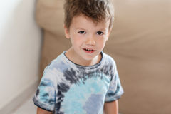 Little boy at home alone Royalty Free Stock Images