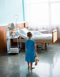 Little boy in hospital Stock Images