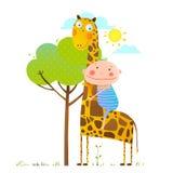Little boy hugging a giraffe childish friendship Stock Image
