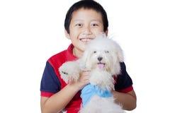 Little boy hugging Maltese dog on studio Stock Images