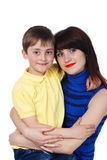 Little boy hugs a young beautiful girl Stock Photography