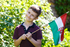Little boy with hungarian flag Royalty Free Stock Images