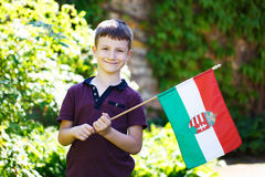 Little boy with Hungarian flag Stock Images
