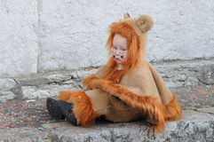 Little Boy i Lion Carnival Costume Arkivbilder