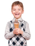 Little boy with ice cream cone Stock Image