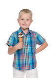 Little boy with ice cream Stock Images