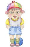 Little boy. Illustration little boy, made color pencils . on white background Royalty Free Stock Photos
