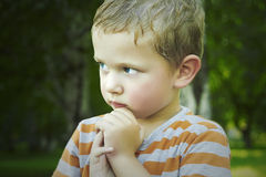 Little Boy im Park nasses Kind nach Regen Hübscher Junge mit blauen Augen Stockbild