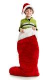 Little Boy im Weihnachtsstrumpf Lizenzfreie Stockfotografie