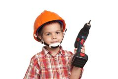 Child construction worker and screwdriver royalty free stock photos